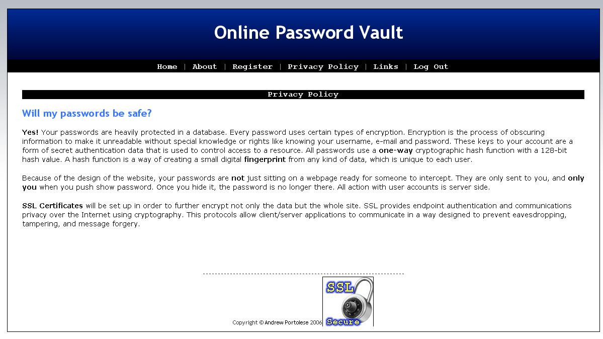 Online password vault