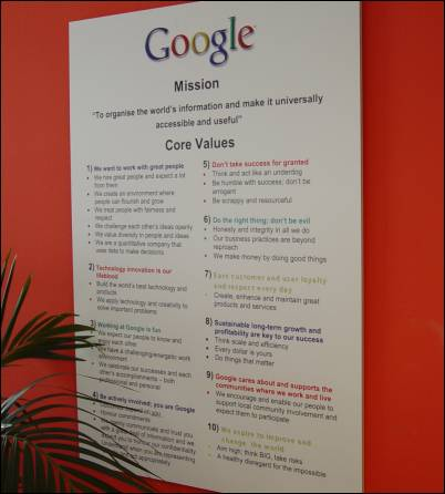 Google Mission Wall