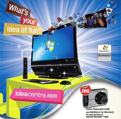 Free Canon Powershot when you buy a Lenovo IdeaCentre A600