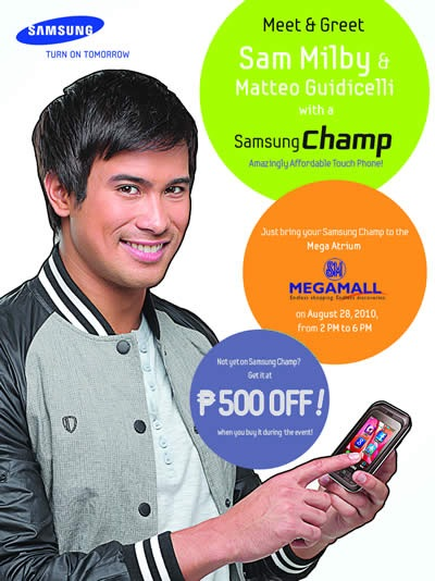 Enjoy Php500 off on the Samsung Champ this Aug. 28