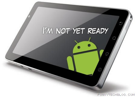 Google says Android is not yet optimized for tablets