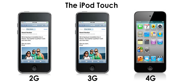 iPod Touch 2G, 3G and 4G Specs Comparison