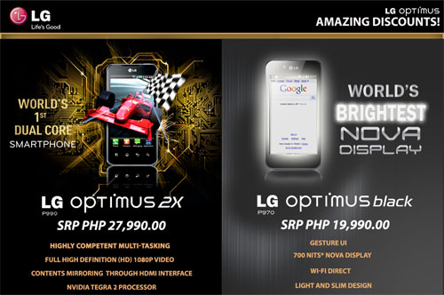 Sale on LG Optimus Black & Optimus 2X