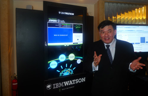 Steven Seah, IBM ASEAN Systems and Technology Group Smart Analytics Leader, demos Jeopardy at the Watson Kiosk