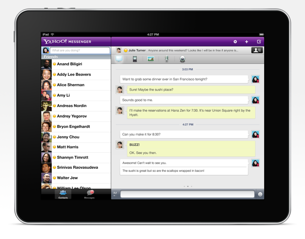 Yahoo! Messenger now available in iPad