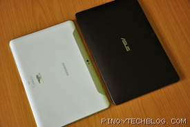 Samsung Galaxy Tab 10.1 and Asus Eee Pad Transformer size comparison