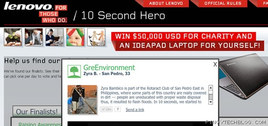 Lenovo 10 Second Hero contest