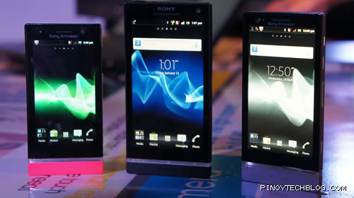 Sony Xperia U, Xperia S, and Xperia P