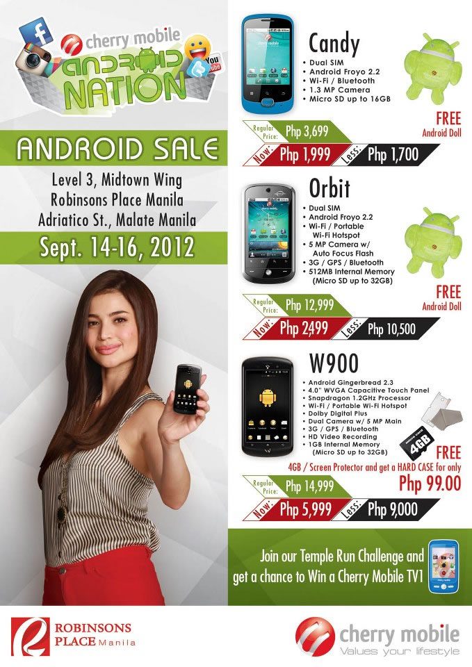 inch Cherry Mobile W900 Android phone only Php5,999 for a limited