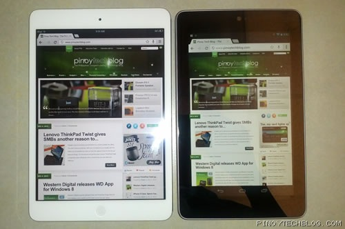 ipad mini nexus 7 web browsing