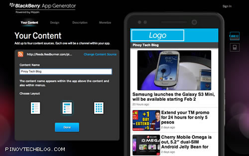 Blackberry App Generator PTB