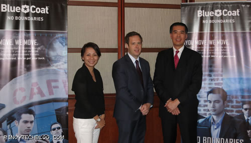Blue Coat executives: Tracy Kong, Marketing Manager for ASEAN & India; Jonathan Andresen, Director, Product Marketing for Asia-Pacific; Albert Kuo, Vice President for APAC Field Operations