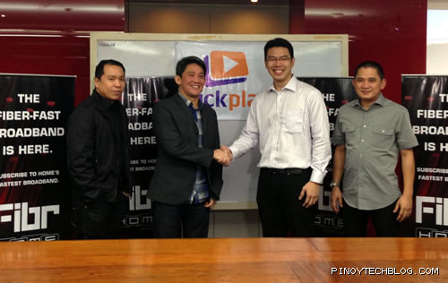 PLDT Home inks deal with Click Play. L-R: Gary Dujali, Head of PLDT HOME Broadband, Ariel Fermin, EVP and Head of PLDT HOME Business, Jon Sherwin Dela Cruz, President of Clickplay, and Nilo Castaneda, Head of PLDT HOME Product Development
