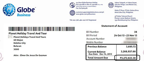 The P3 million Globe bill statement, this time it's not fake