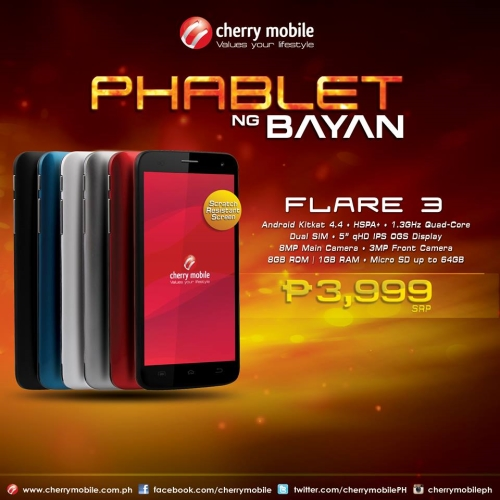 Cherry Mobile launches Flare 3 Phablet ng Bayan