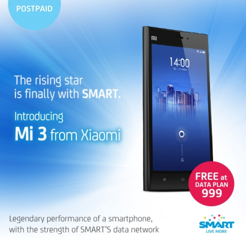 SMART offers Xiaomi Mi3 for FREE at Plan 999
