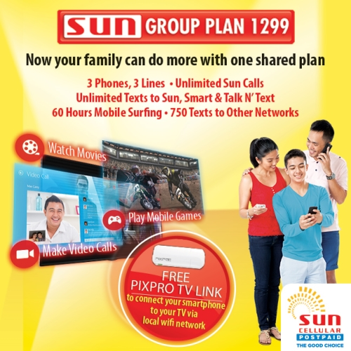 Get 3 phones and 3 lines under sun postpaid group plan for Sun mobile plan