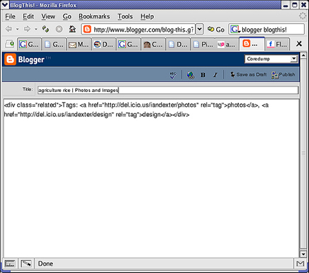 Blogger BlogThis! tool interface