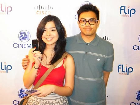 Saab Magalona, with Julius Valledor, shows off her new Flip Video camcorder