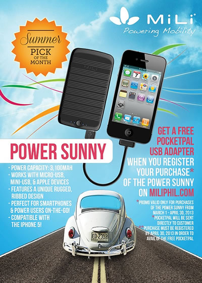 Buy A Mili Power Sunny Power Bank And Get A Free Pocketpal