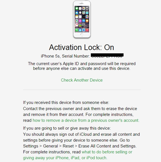 ipad serial number check activation lock