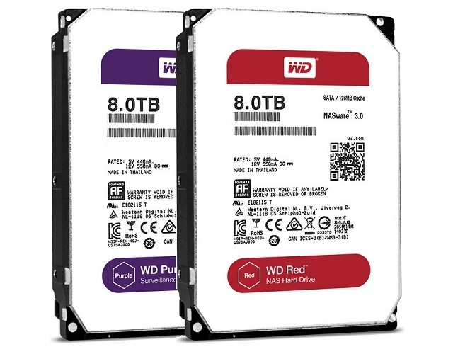 Western Digital Purple 8TB Hard Drive and Western Digital Red 8TB Hard Drive