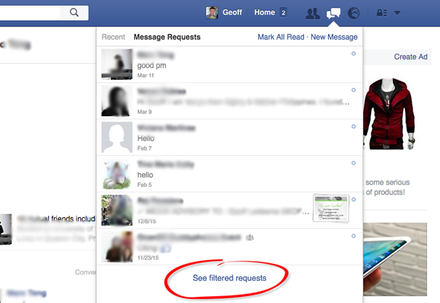 Facebook messenger inbox