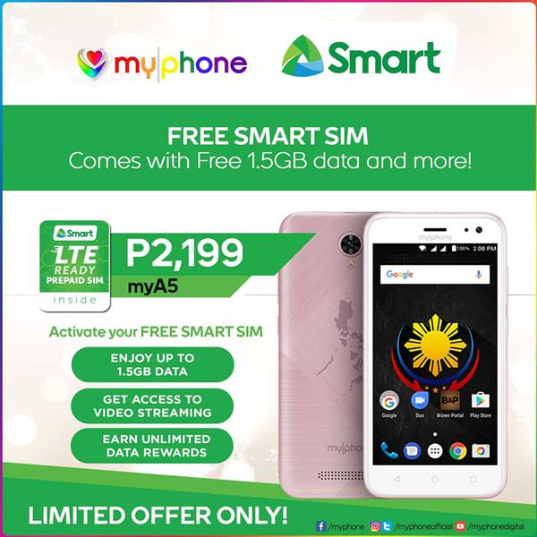 smart and myphone offer mya5 with free smart sim for limited time. Black Bedroom Furniture Sets. Home Design Ideas