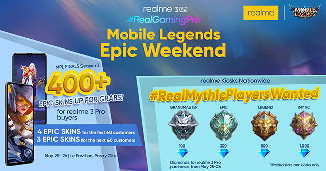 Free Mobile Legends Epic Skins and Diamonds realme 3 Pro promo